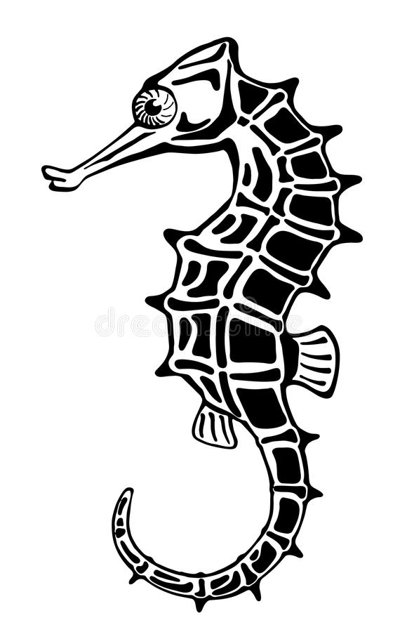 Seahorse, stylized ink drawing vector illustration