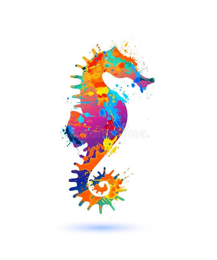 Seahorse sylwetki symbol pluśnięcie farba ilustracji