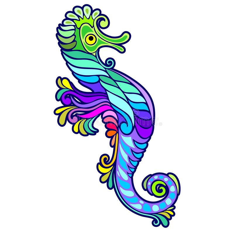 Download Seahorse Tattoo Decorative stock vector. Illustration of ornamental - 88846936