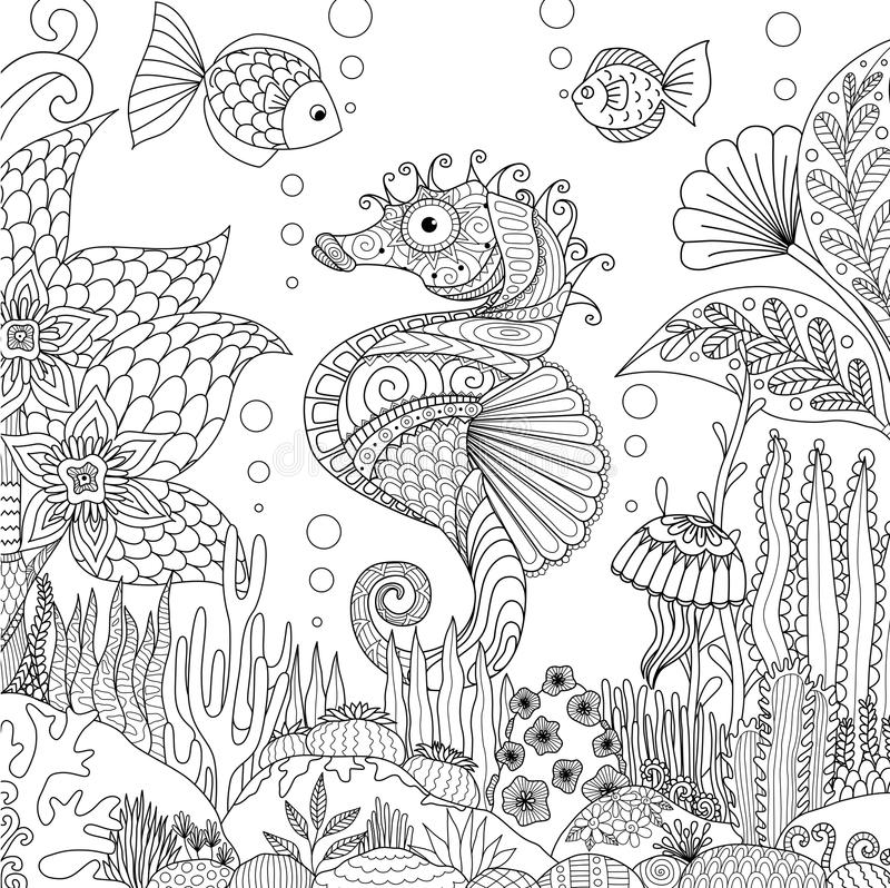 Seahorse y coral libre illustration