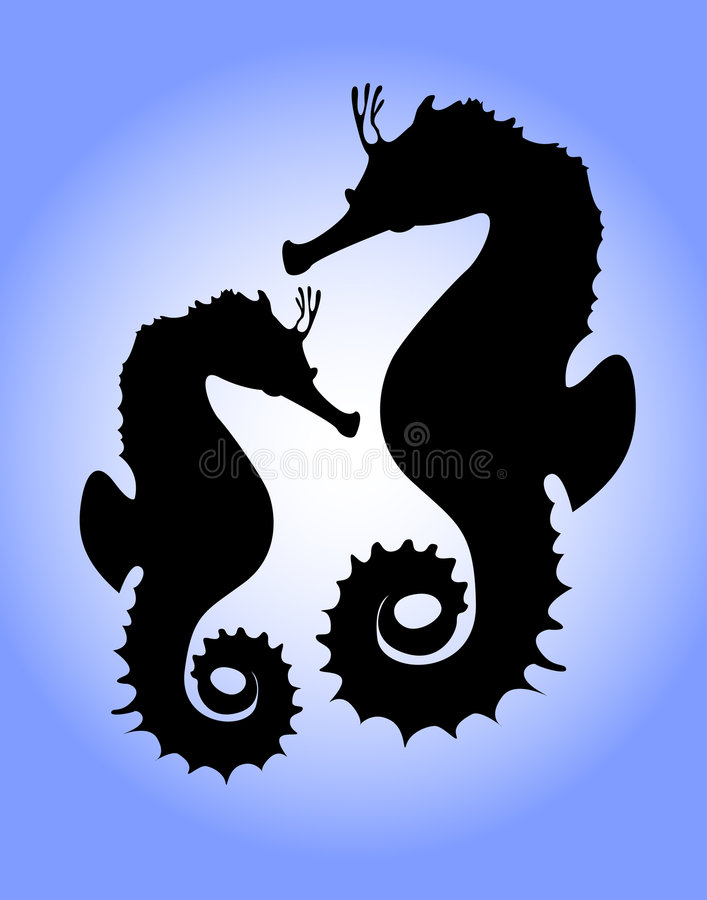 Download Seahorses stock illustration. Image of tail, graceful - 1152303