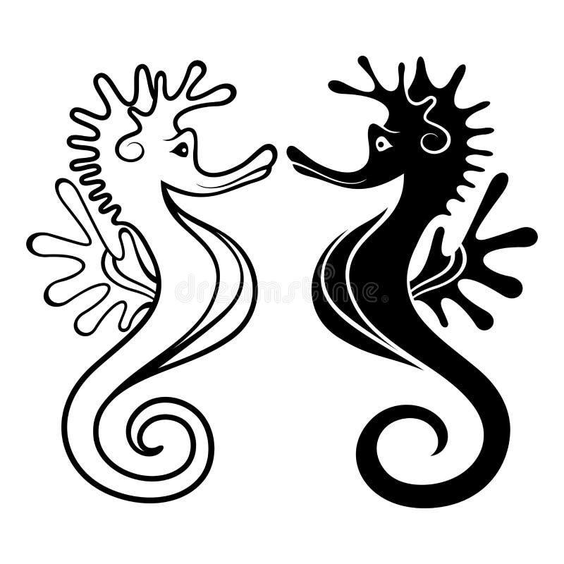 Seahorses hermosos del vector ilustración del vector