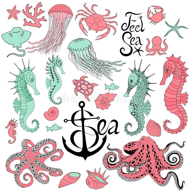Seahorses met kwallen, octopus, krab en andere royalty-vrije illustratie