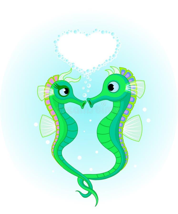 Seahorses no amor ilustração stock