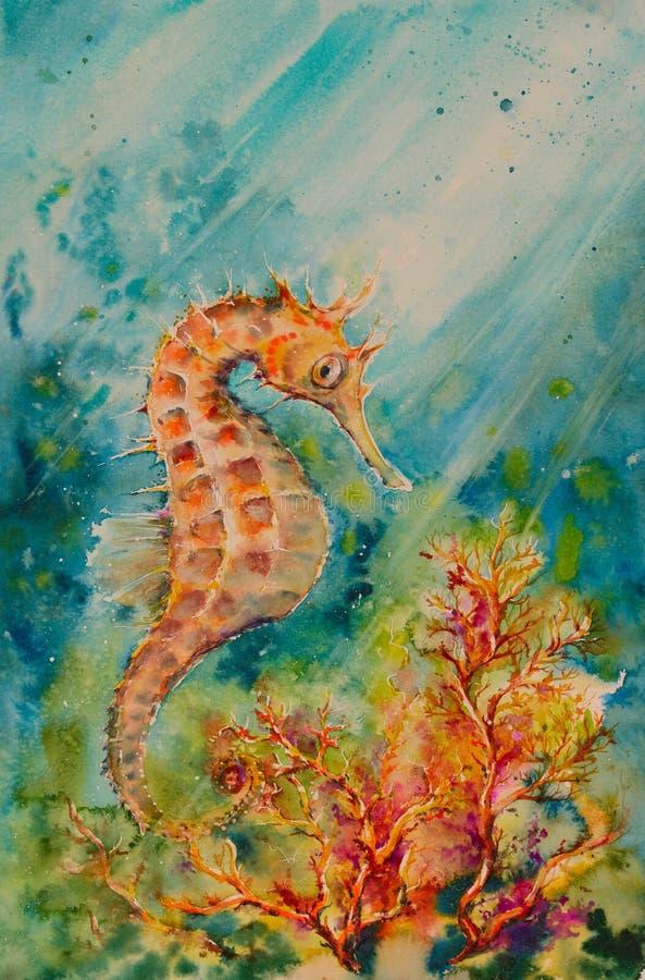 Seahorsevattenfärger målade royaltyfri illustrationer