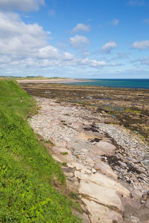 Seahouses wyrzucać na brzeg Northumberland brzegowy północno-wschodni Anglia UK z widokiem Bamburgh kasztel fotografia royalty free