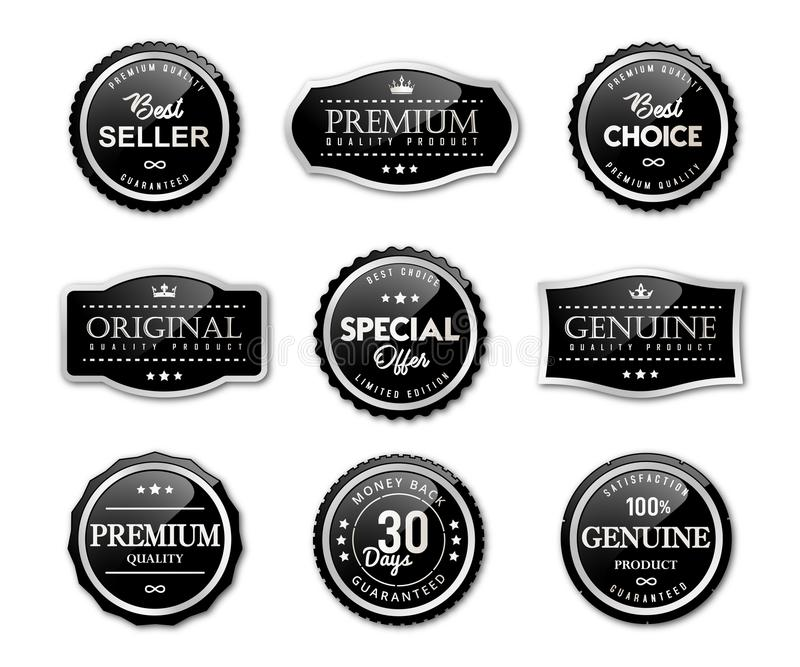 Seal labels and premium quality product royalty free illustration