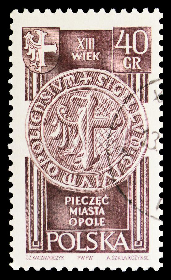 Seal of Opole, 13th Century, Recovered territories serie, circa 1961. MOSCOW, RUSSIA - SEPTEMBER 15, 2018: A stamp printed in Poland shows Seal of Opole, 13th stock image
