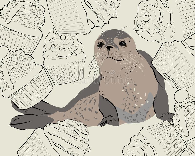 Seal. Sea lion in cupcakes. Vector illustration royalty free illustration