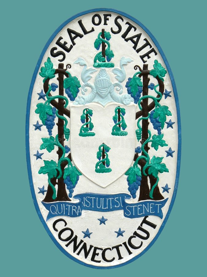 Seal of State of Connecticut. Seal of Connecticut State brightly painted bas relief sculpture; note: background color is easy to change royalty free stock images