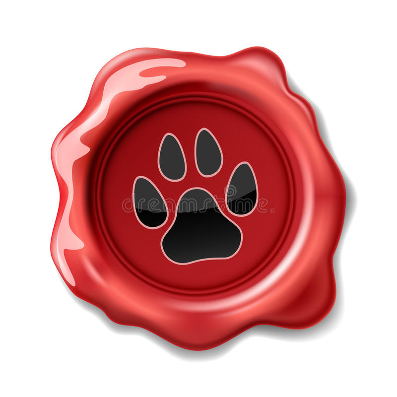 Seal wax. Animal Paw Print on the Wax Seal. Icon. Illustration royalty free illustration