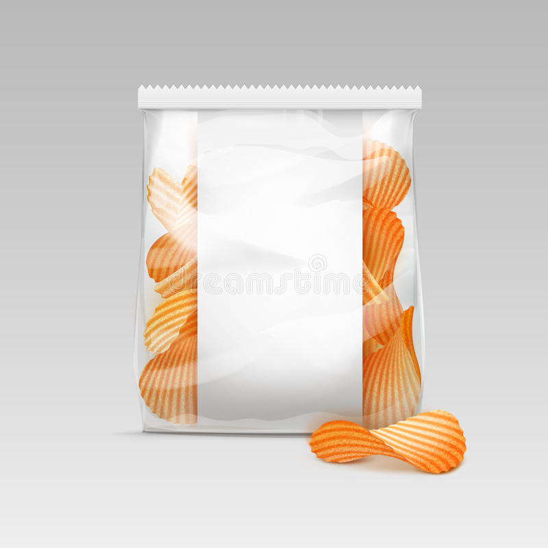 Sealed Transparent Plastic Bag with Potato Chips on White Background. Vector White Vertical Sealed Transparent Plastic Bag for Package Design with Potato Ripple royalty free illustration