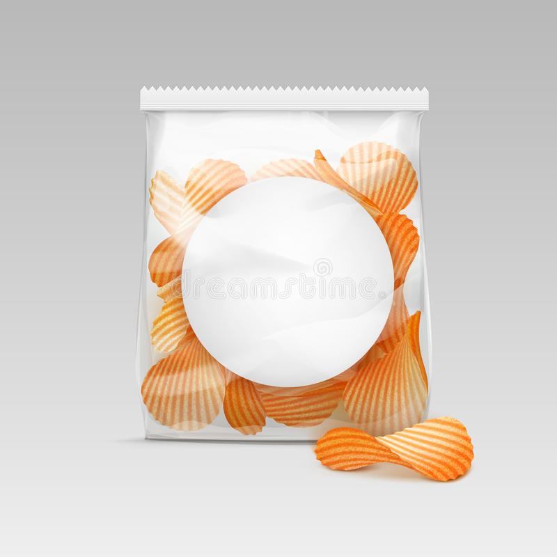 Free Sealed Transparent Plastic Bag With Potato Chips On White Background Stock Images - 77490554