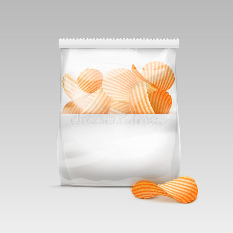 Free Sealed Transparent Plastic Bag With Potato Chips On White Background Royalty Free Stock Images - 77490779
