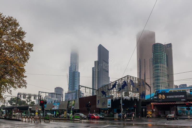 SeaLife aquarium and skyscrapers on rainy day stock images