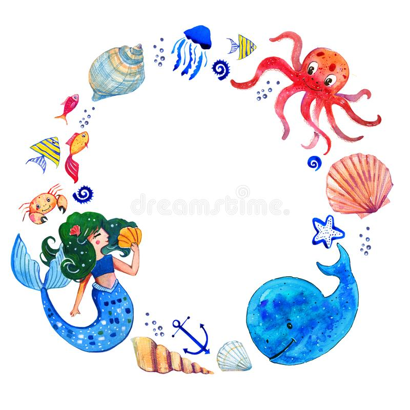 Sealife children watercolor hand drawn stylized isolated round frame with mermaid, whale, octopus, shells and fishes. On white background vector illustration