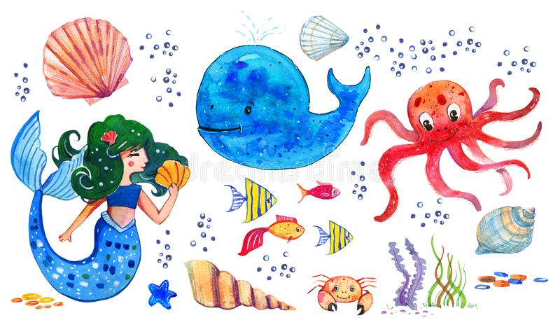 Sealife children watercolor hand drawn stylized isolated set with mermaid, whale, octopus, shells and fishes. On white background stock illustration