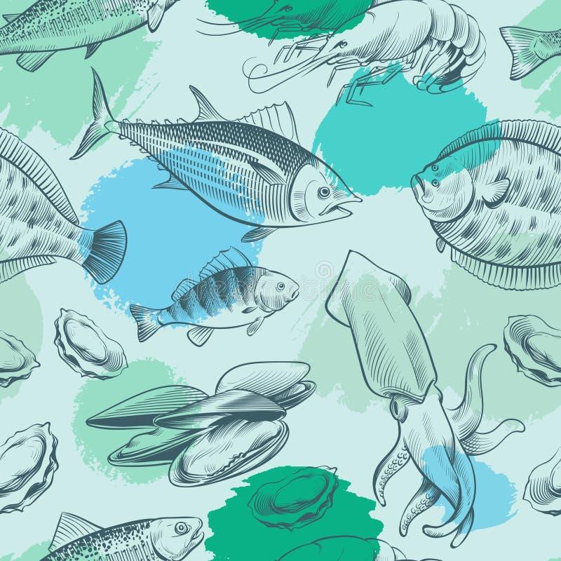 Sealife sömlös modell med grungebeståndsdelar Havtextur med fisken, skal, bläckfisk stock illustrationer