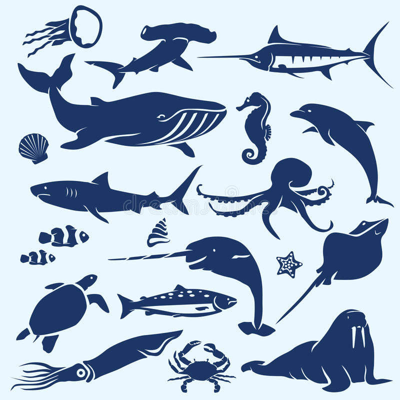 Sealife, sea and ocean animals and fish silhouettes stock illustration