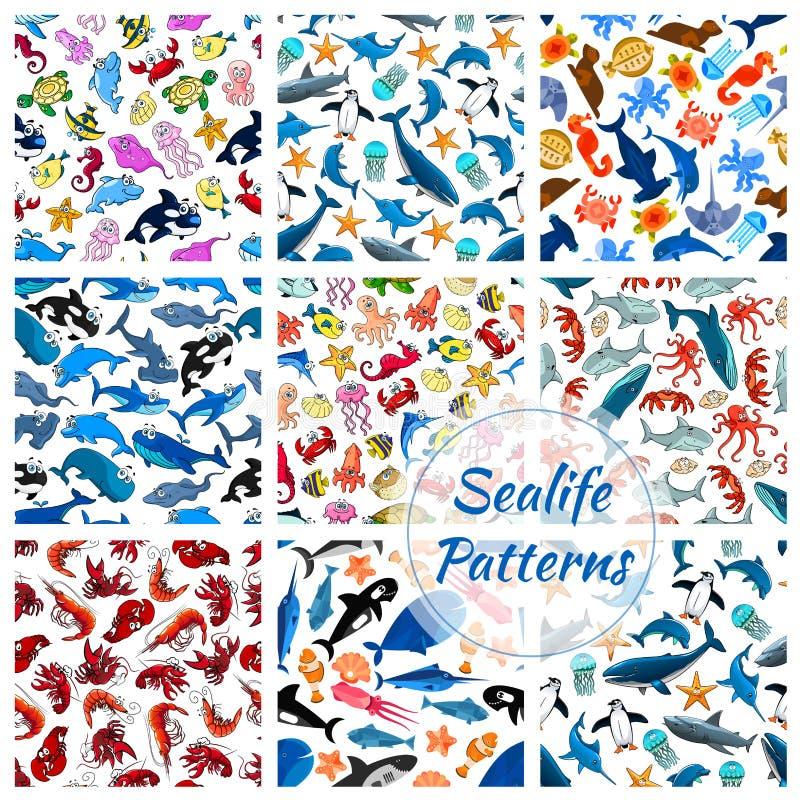 Sealife wektoru bezszwowy wzór kreskówki ryba royalty ilustracja