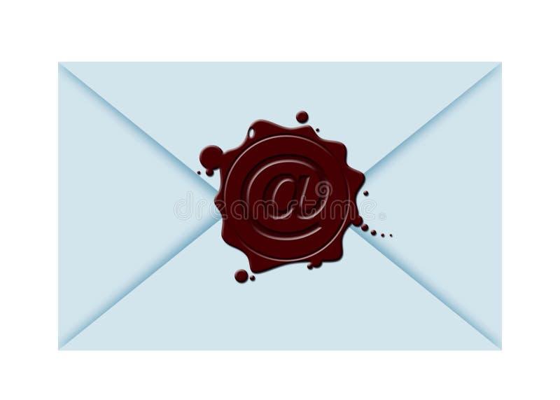 Sealing wax&@. Illustration of a close envelope with sealing wax and @-sign vector illustration