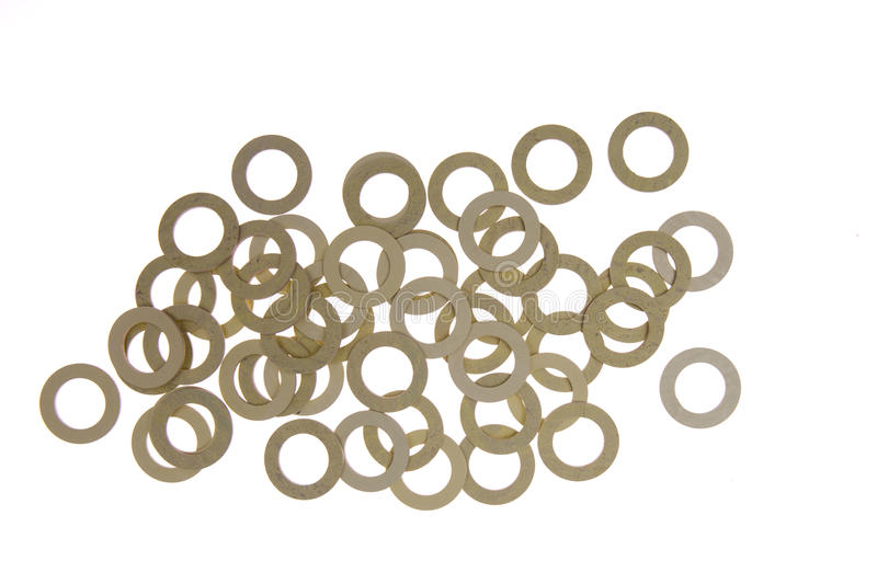 Seals , gaskets and O-rings isolated on white. Hydraulics royalty free stock image