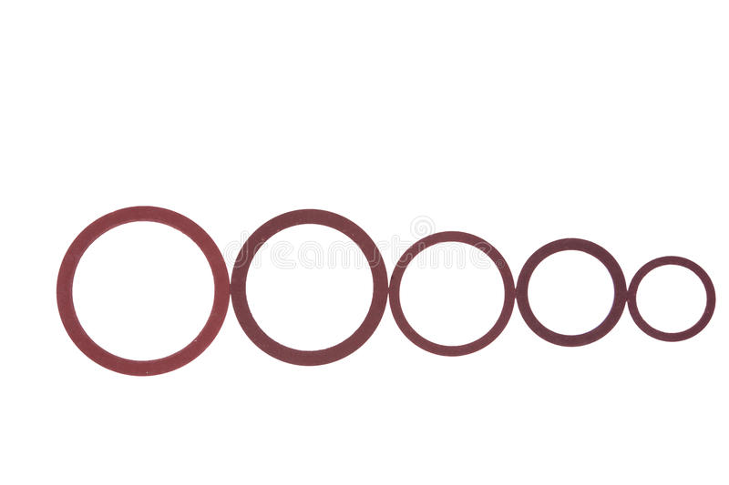 Seals , gaskets and O-rings isolated on white. Hydraulics royalty free stock photo