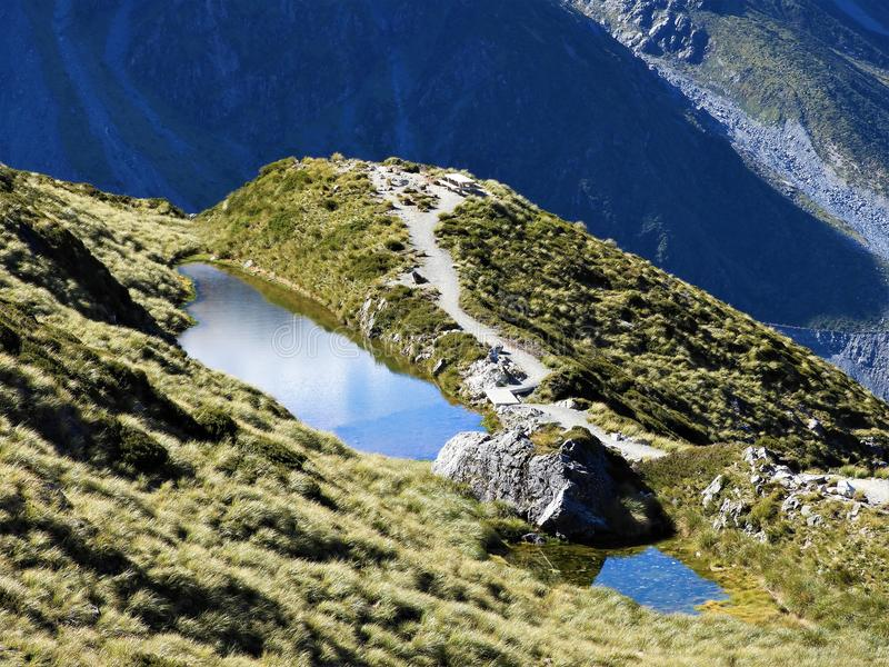 Sealy Tarn on the Mueller Hut Route, Mount Cook National Park stock image