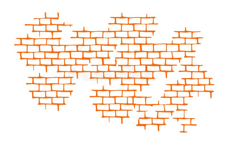 Seam. Brick wall. Vector Texture Pattern Orange. Flat mockup, clean for design decoration isolated on white background, vector illustration