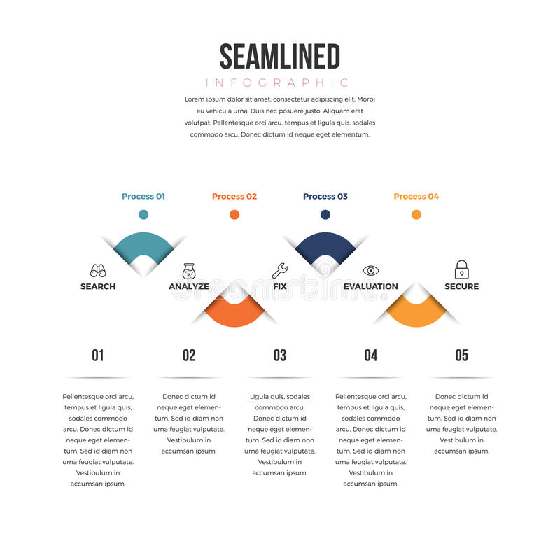Seam Lined Infographic stock illustration