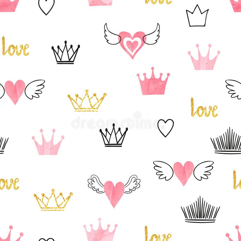 Seamess pattern with doodle crowns and hearts. stock illustration