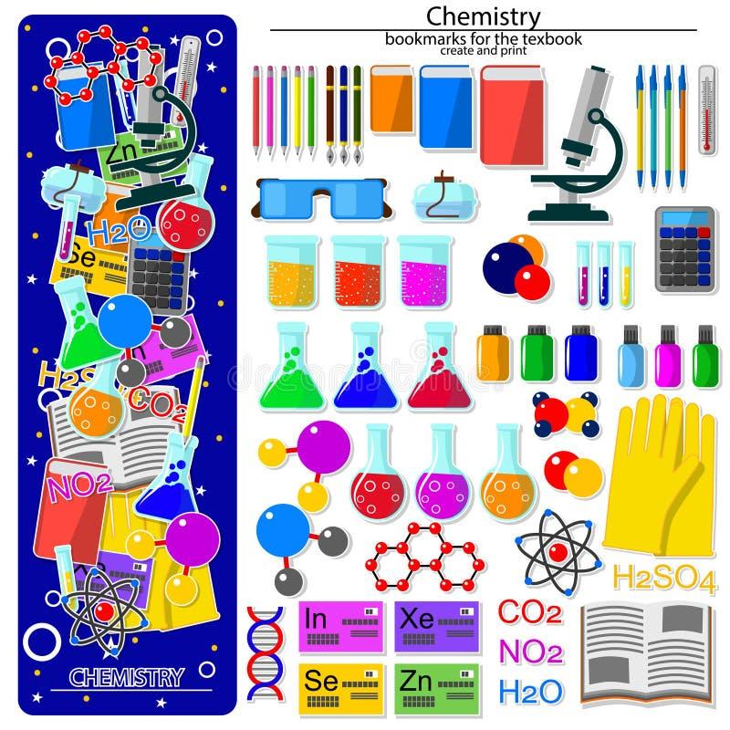 SeamlBookmark-Schaffungsausrüstung auf dem Chemieschulthema ess kopieren auf dem Chemieschulthema lizenzfreie abbildung