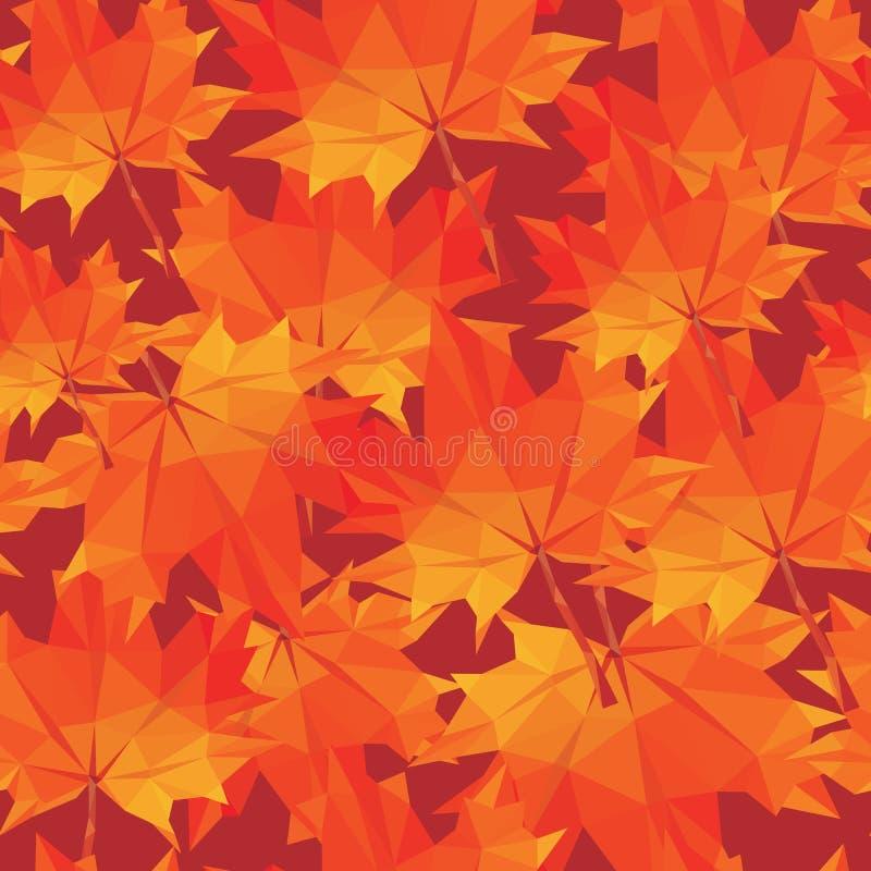 seamle кленовых листов осени картины Низко-поли предпосылки полигональное иллюстрация вектора