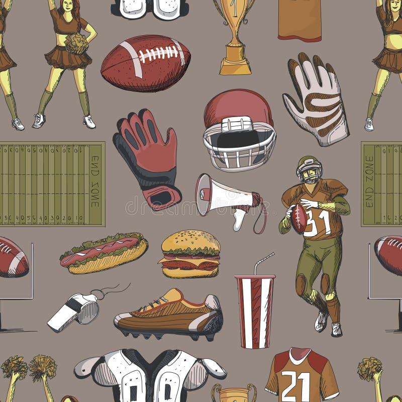 Seamlees för amerikansk fotboll modell stock illustrationer