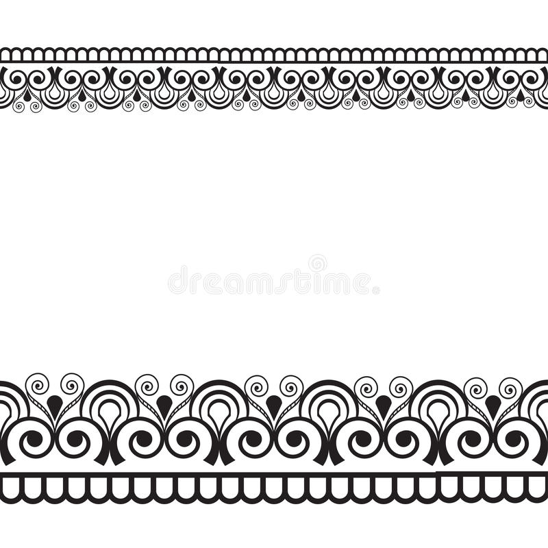 Seamles border pattern elements with flowers and lace lines in Indian mehndi style isolated on white background. Illustration stock illustration