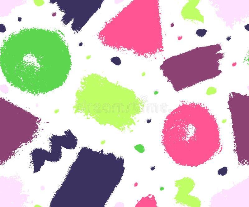 Seamles geometrisch patroon Kleurrijke inktvlekken, strepen Driehoek, Cirkel, Vierkant Vectorhand getrokken borsteltextuur royalty-vrije illustratie