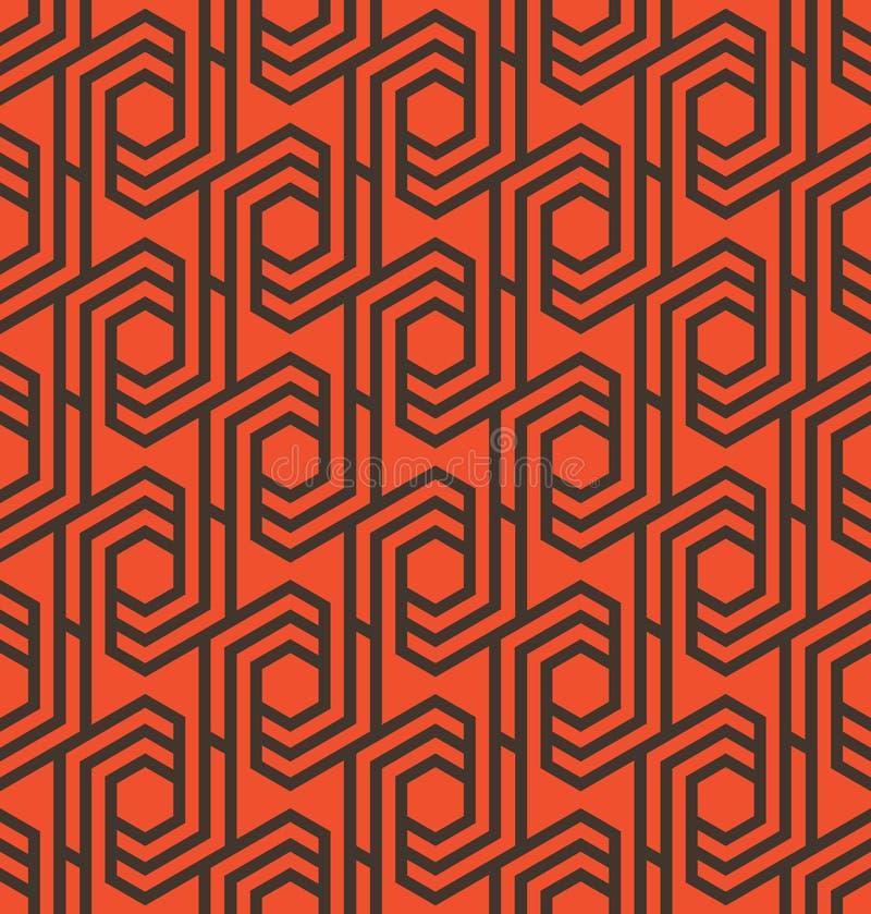 Seamles geometrisk modell med linjer och sexhörningar i apelsinen och svart - vektor eps8 vektor illustrationer
