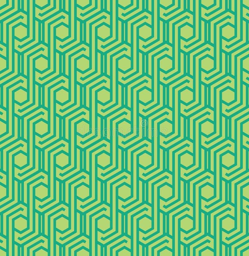Seamles geometrisk modell med linjer och sexhörningar i gröna färger - vektor eps8 vektor illustrationer