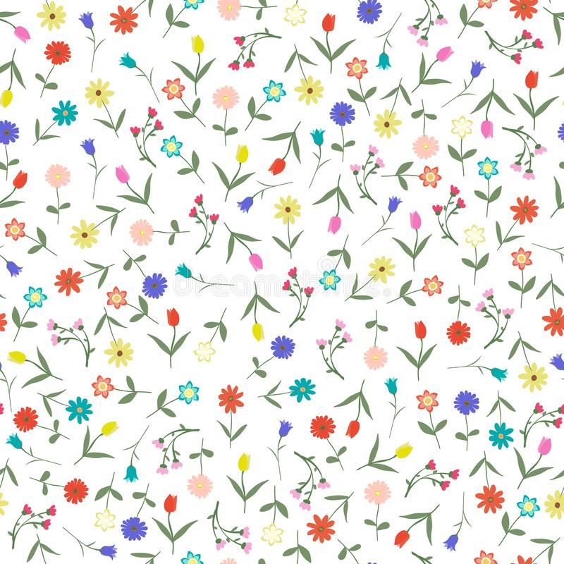Seamles hand drawn floral pattern isolated on white background vector illustration. Many random flowers, many colors. Early spring or summer flowers set royalty free illustration
