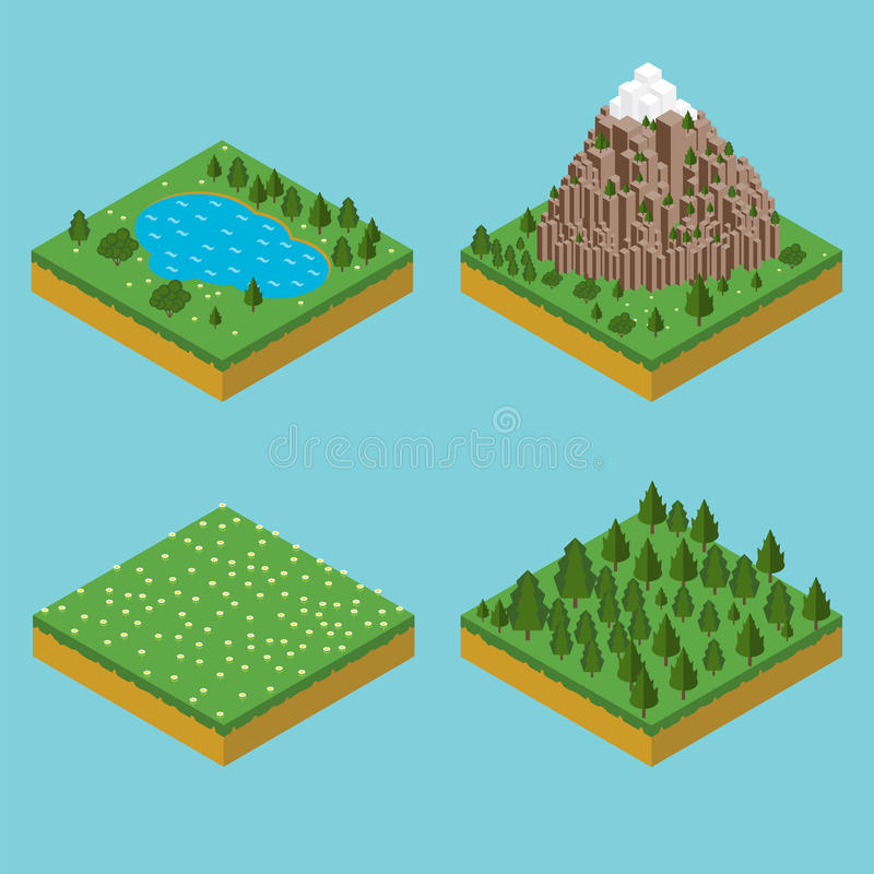 Seamles isométriques de paysage Isométrique de préassemblage illustration libre de droits