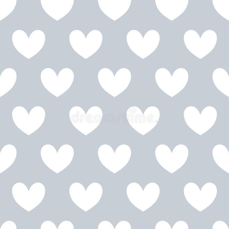Seamles modell med vita hjärtor på grå bakgrund vektor illustrationer