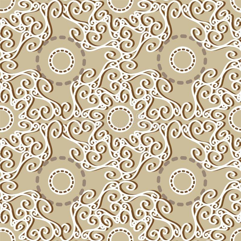 Seamles-Ornamentalhintergrund Beige, Braun weiß stock abbildung