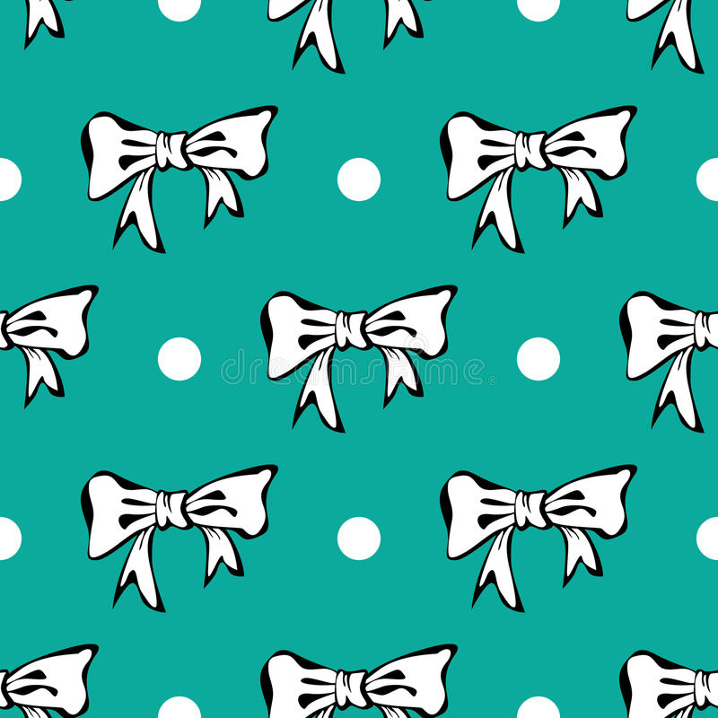 Download Seamles Pattern Background With White Bows And Pol Stock Vector - Image: 29306141