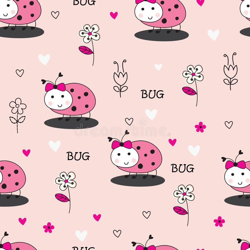 Seamles pattern with bugs and flowers stock illustration
