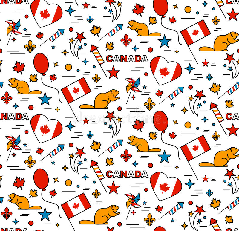 Seamles pattern. For Canada Day 1st of July stock illustration