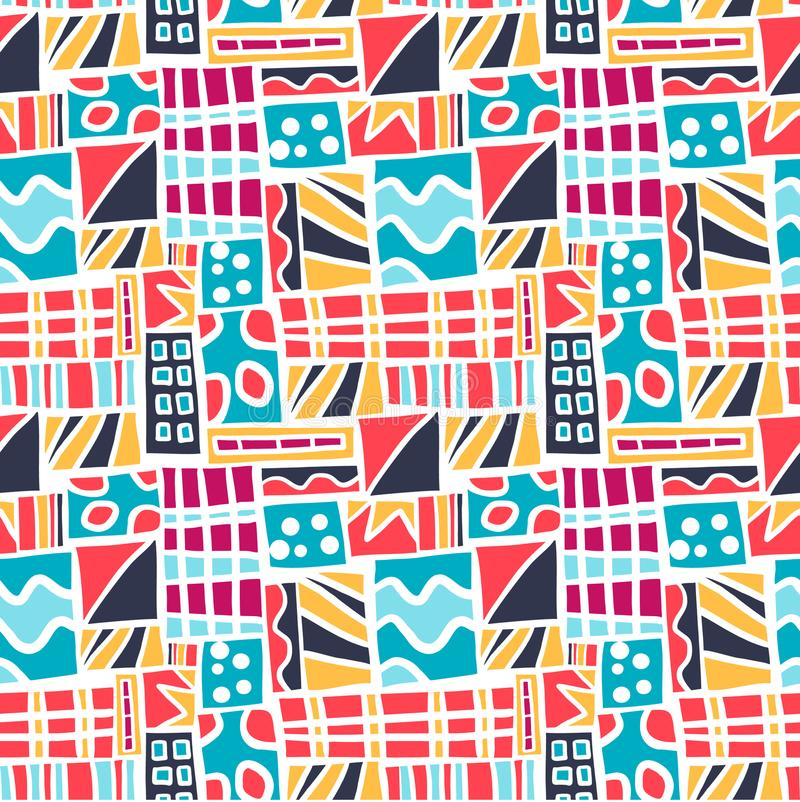 Seamles pattern colorful abstract square background. Retro style with basic shapes form vector illustration