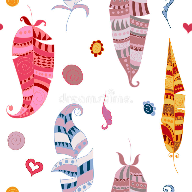 Seamles pattern with colorful doodle feathers. Vector EPS 10 illustration for design stock illustration