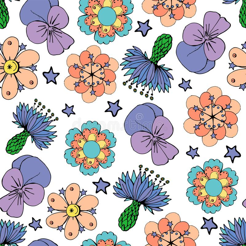 Seamles pattern with colorful flowers on a white background. Seamles pattern with colorful flowers on white background royalty free illustration
