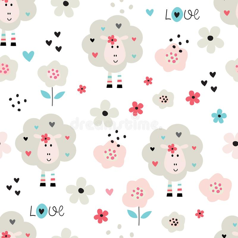 Seamles pattern with cute sheep and flowers. For wrapping paper, scrapbooking, wallpaper vector illustration