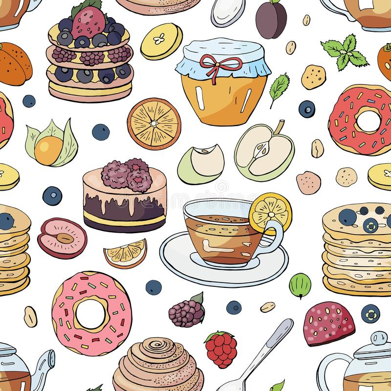 Seamles pattern with different breakfast elements on white background. Hand drawn vector morning collection -tea, coffee, cakes,. Berries, muesli, croissants royalty free illustration